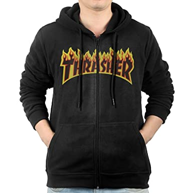 6cea5f242d76 Men Thrasher On Fire Logo Hoodie Pullover Zip Up at Amazon Men s Clothing  store