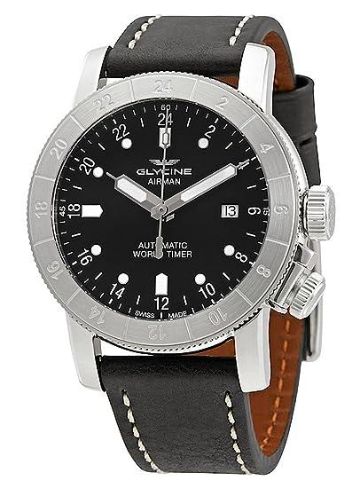 Glycine Airman - Reloj de pulsera de 24 horas World Timer GMT Fecha Analógico Automático 3947.191 - 66. lb9b: Amazon.es: Relojes