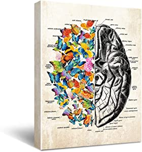 "HIjie Anatomy Brain Canvas Wall Art for Doctor Office Decor, Gift for Medical School Graduation, Social Worker Graduation Gift, Occupational Therapist Gift, Psychological Doctor Gift Size 11.5"" X 15"""