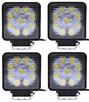 ALPHA DIMA 48W 27W IP67 Impermeables Proyector Punto Luz de Trabajo Luces Antiniebla Luz de Trabajo LED 48W,Tractor Faros Antiniebla epcs Cavadoras (4X 27W ...
