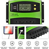 MoimTech Solar Charge Controller, Solar Panel Battery Controller 40A PWM Auto Paremeter Adjustable LCD Display Intelligent Regulator with Dual Port Display 12V/24V