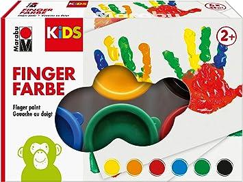 Oferta amazon: Marabu Kids-Pintura para Dedos (6 x 35 ml), Color Amarillo, Naranja, Rojo, Azul, Verde y Negro, carbón (0303000000085)