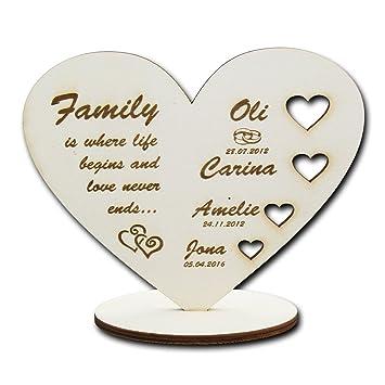 Support Motif Famille De Cœur Avec Gravure Au Laser Personnalise