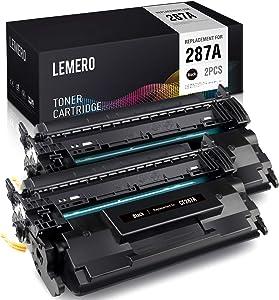 LEMERO Compatible Toner Cartridge Replacement for HP 87A CF287A for HP Laserjet M506 M506dn M506n Pro M501dn M501n MFP M527f M527dn (2 Black)