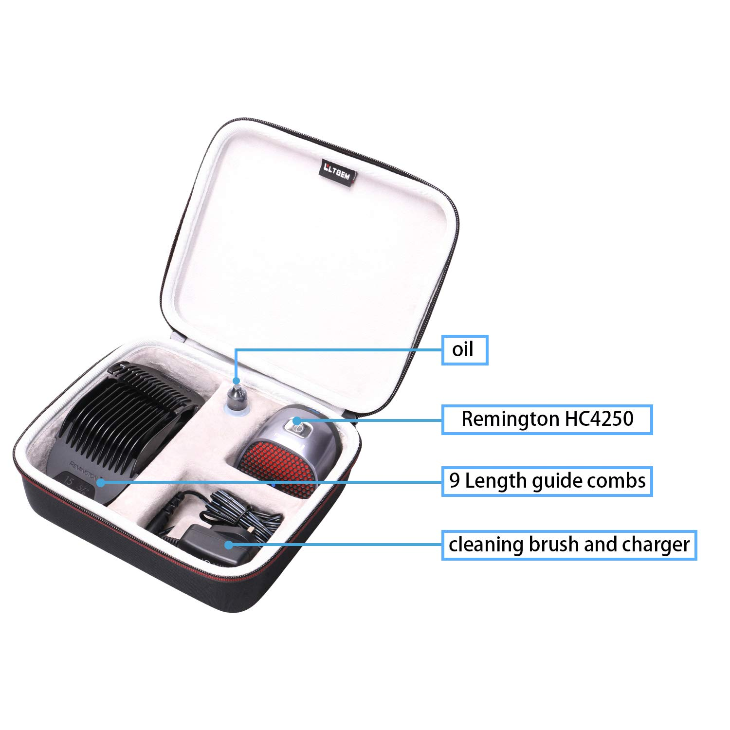 LTGEM Hard Travel Carrying Case for Remington HC4250 Shortcut Pro Self-Haircut Kit, Hair Clippers Hair Trimmers Clippers by LTGEM (Image #4)