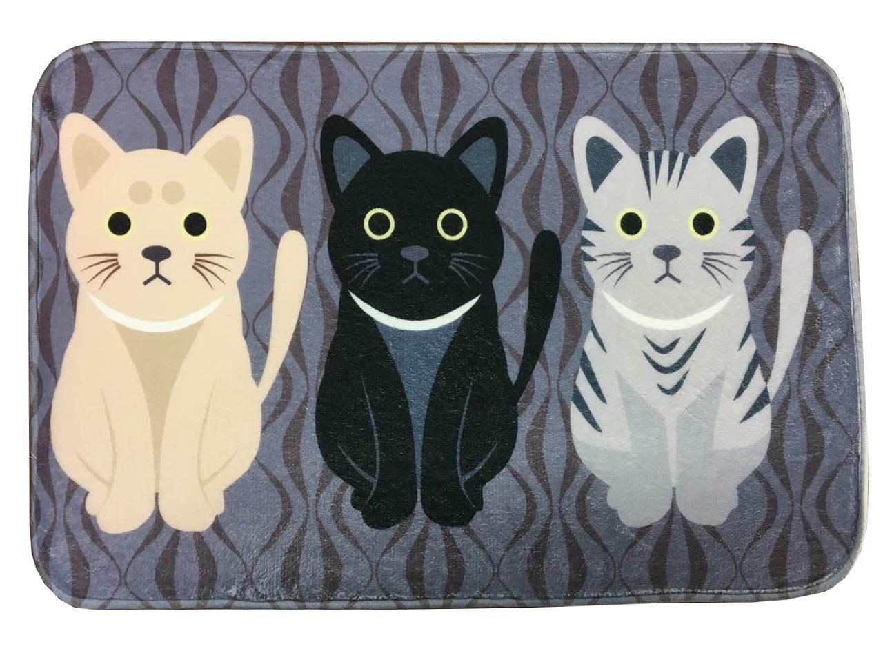 Fouriding Cute Cats Kitty Design Flannel Rectangle Rug Soft/Smooth Carpet/Mat/Area Rug for Stairway Toilet Floor Bedroom Living Room Bathroom Kitchen Home Decoration 3 Cats 40x60 cm