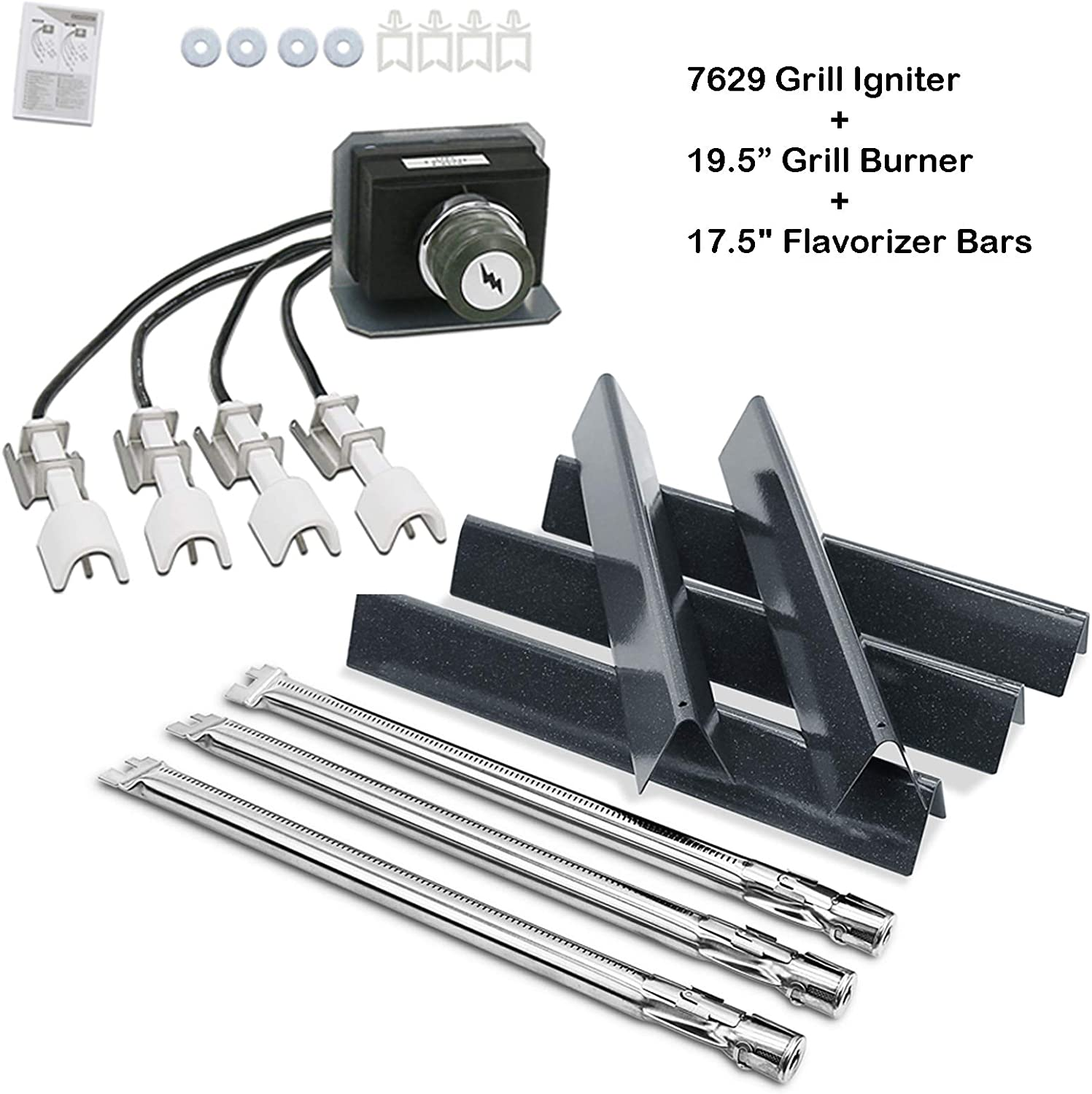 """Uniflasy 17.5"""" Flavorizer Bar, 19.5"""" Grill Burner, Grill Igniter Kit for Weber Genesis 330, E330, S330 Gas Grills with Front Control (2011 - Newer), Grill Parts Kit for Weber Genesis 330 Series"""