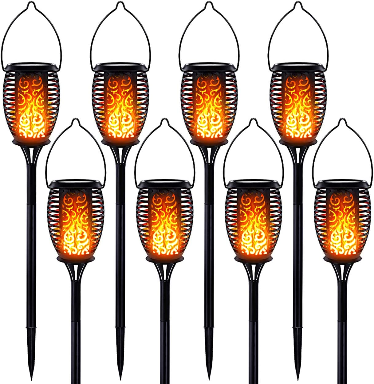 LazyBuddy Solar Torch Lights with Flickering Flame, Solar Hanging Lanterns Outdoor, Upgraded 8 Pack Torches 3 in 1 LED Solar Garden Light for Pathway Yard Lawn Auto On/Off Landscape Decor Lighting