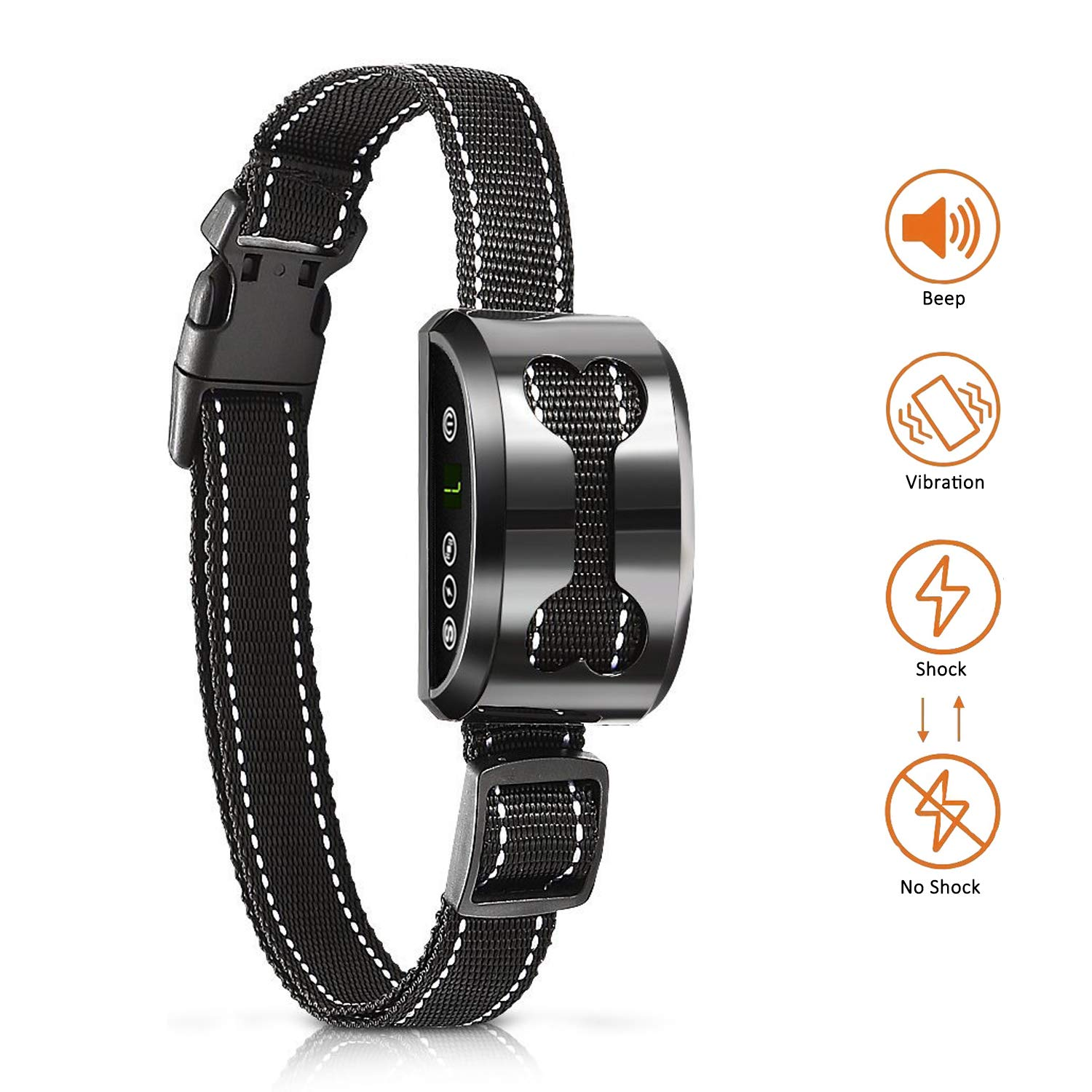 Elivern Anti Bark Collar for Small Dog with Sound,Vibration and Shock (Can be Switched Off) Functions, USB Rechargeable Bark Off Collar for Small, Medium and Large Dog