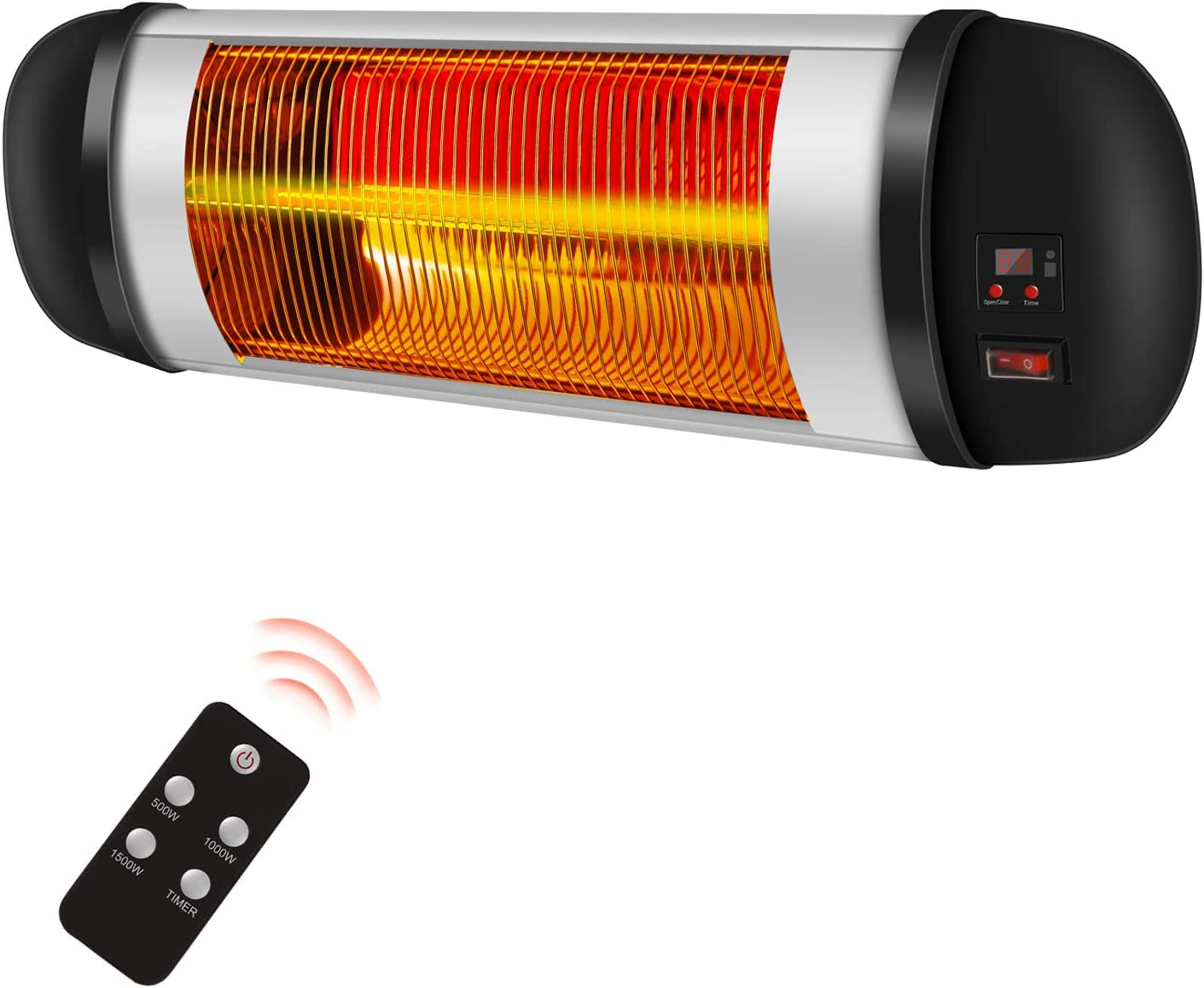 Amazon Com Rmyhome Electric Wall Mounted Patio Heater For Indoor Or Outdoor Use 1500w Electric Infrared Heater With Carbon Fiber Heating Tube Dust Proof Waterproof Overheat Protection System Garden Outdoor