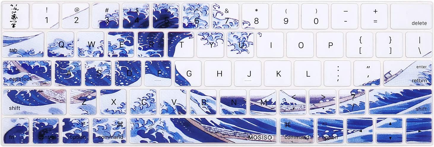 MOSISO Keyboard Cover Compatible with MacBook Pro with Touch Bar 13 and 15 inch 2019 2018 2017 2016 (Model: A2159, A1989, A1990, A1706, A1707),Pattern Silicone Skin Protector, Great Sea Wave