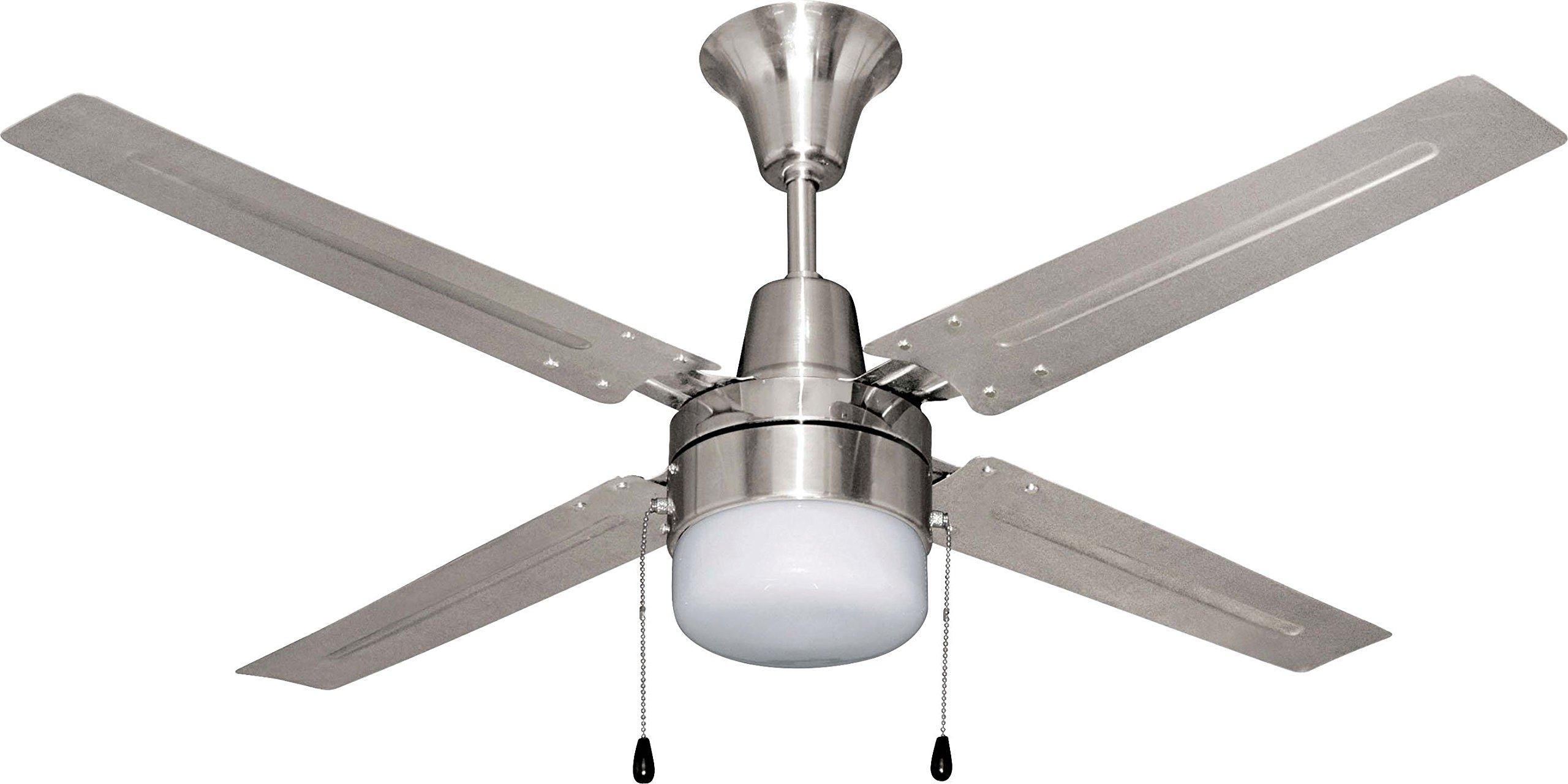 Litex E-UB48BC4C1 Urbana 48-Inch Ceiling Fan with Four Brushed Chrome Blades and Single Light Kit with frosted Glass by Litex