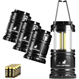 MalloMe LED Camping Lantern Flashlights 4 Pack - SUPER BRIGHT - 350 Lumen Portable Outdoor Lights with 12 High Power Best Alkaline AA Batteries