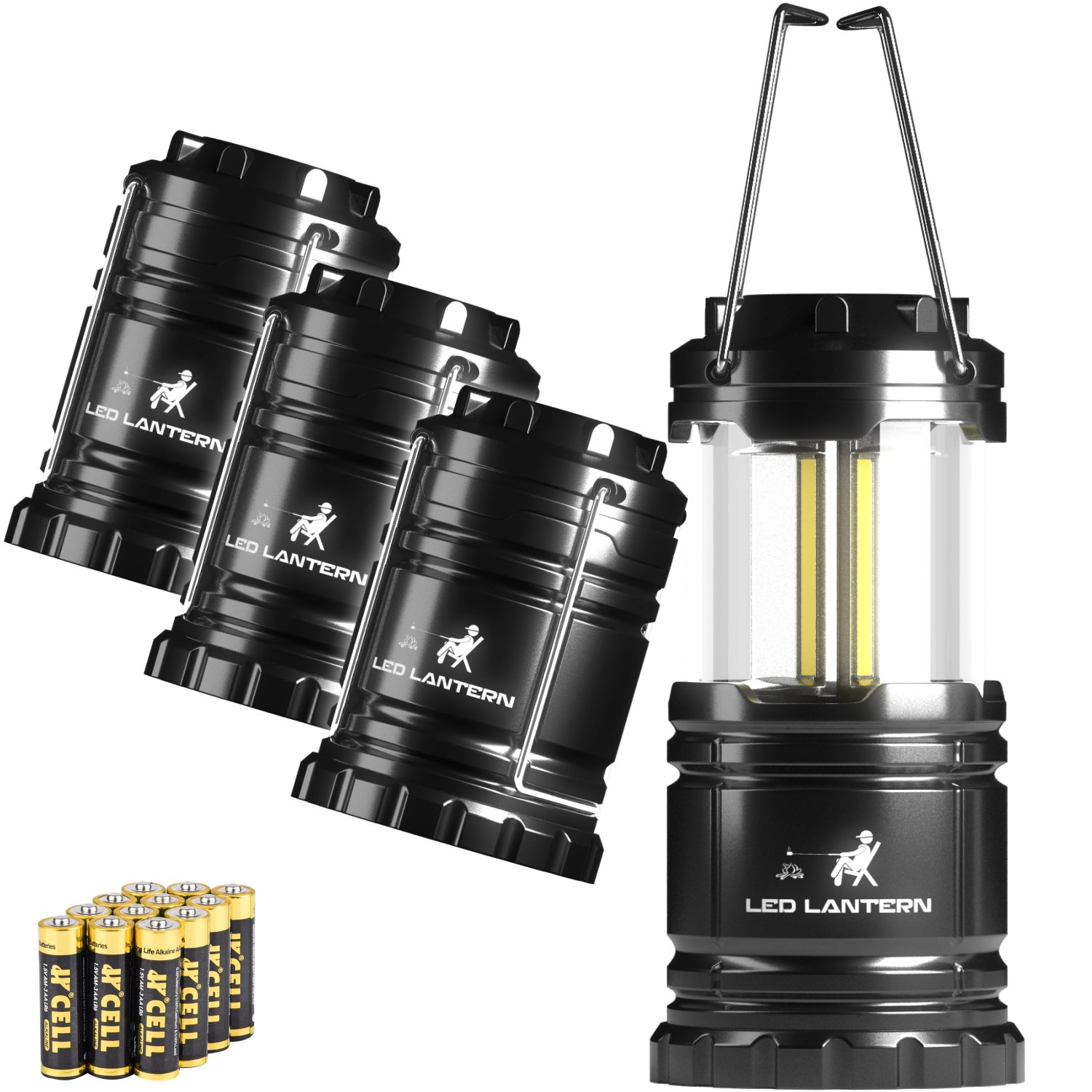 MalloMe LED Camping Lantern Flashlights 4 Pack - SUPER BRIGHT - 350 Lumen Portable Outdoor Lights 12 AA Batteries (Black, Collapsible)