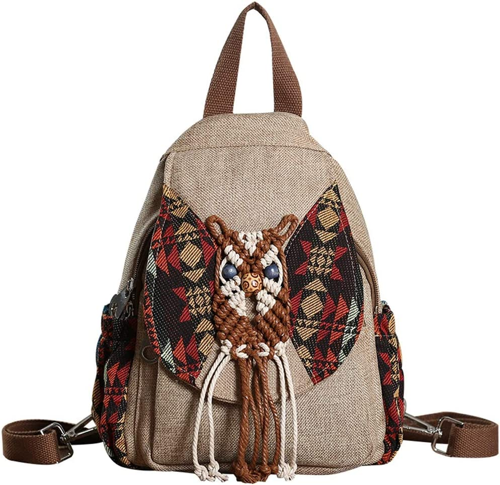 C /& S Outdoor Travel Khaki Color Backpack Students Small Schoolbag National Wind Canvas Single Shoulder Bag Hand Knitted