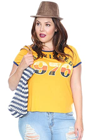 db04be4f7ad Plus Size Sunkissed Graphic Ringer Tee - Yellow -  Amazon.co.uk ...
