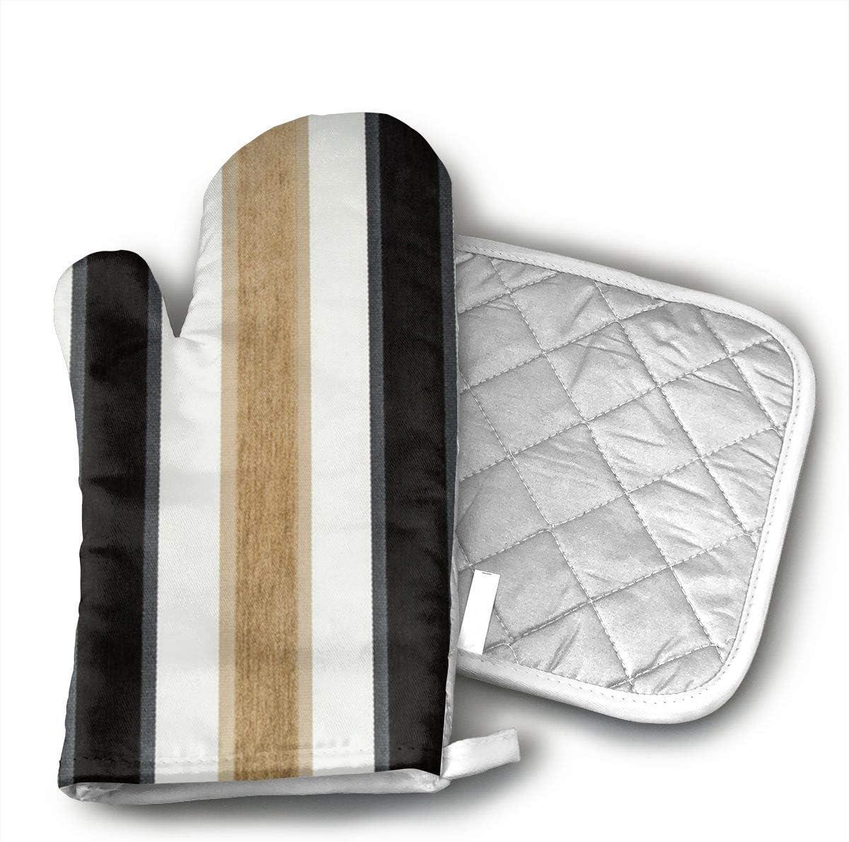 BGDEIOKJ Black Taupe Brown White Stripe Oven Gloves Microwave Gloves Barbecue Gloves Kitchen Cooking Bake Heat Resistant Gloves Combination