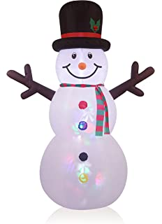Outdoor Snowman Lights Amazon indooroutdoor inflatable snowman with kaleidoscope 8ft inflatable snowman with projection lighting indoor outdoor christmas holiday decorations workwithnaturefo