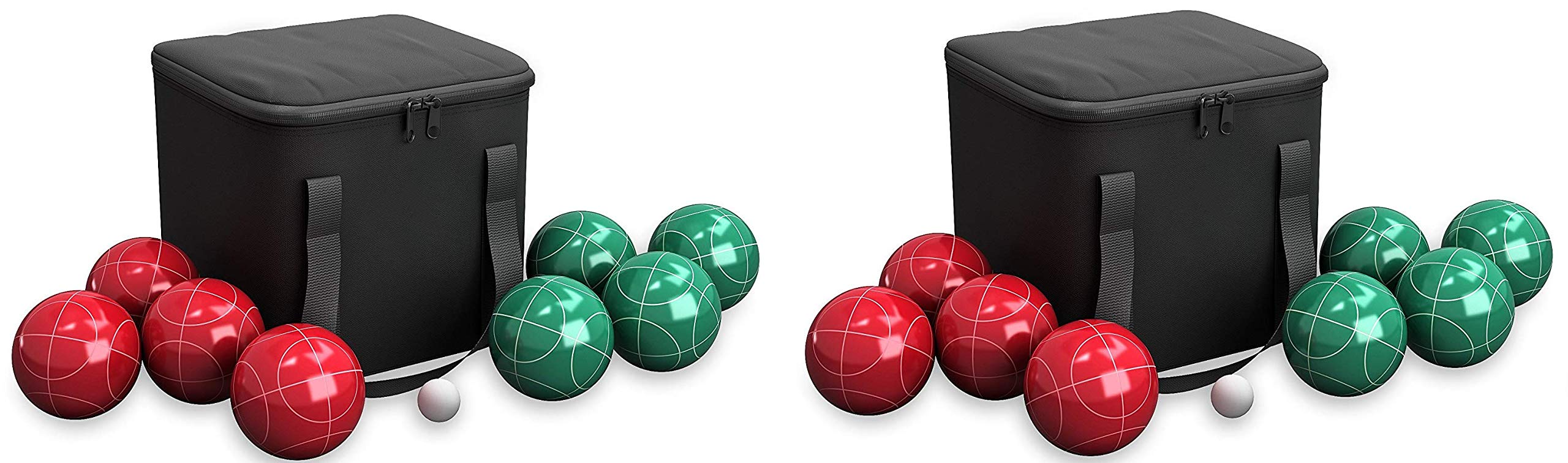Hey! Play!! 80-76090 Bocce Ball Set- Outdoor Family Bocce Game for Backyard, Lawn, Beach & More- 4 Red & 4 Green Balls, Pallino & Carrying Case (2-Pack)