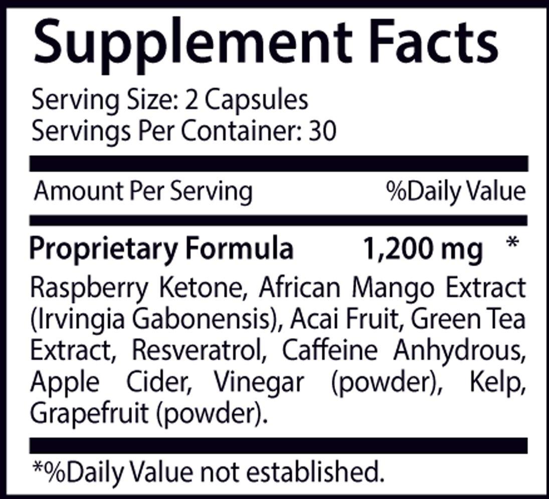 Raspberry Ketones Lean 1200mg Advanced Weight Loss Formula with Mango Extract, Resveratol, Acai Fruit, Green Tea Extract (6 Bottles, 360 Capsules)