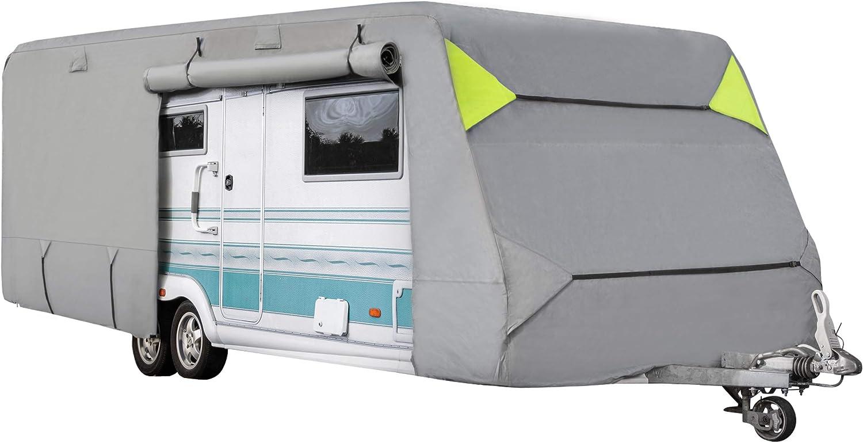 Onvaya Wohnwagen Schutzhülle Abdeckung Fürs Wohnmobil Atmungsaktive Abdeckplane Wind Und Wetterfest 610 X 250 X 220 Cm Küche Haushalt