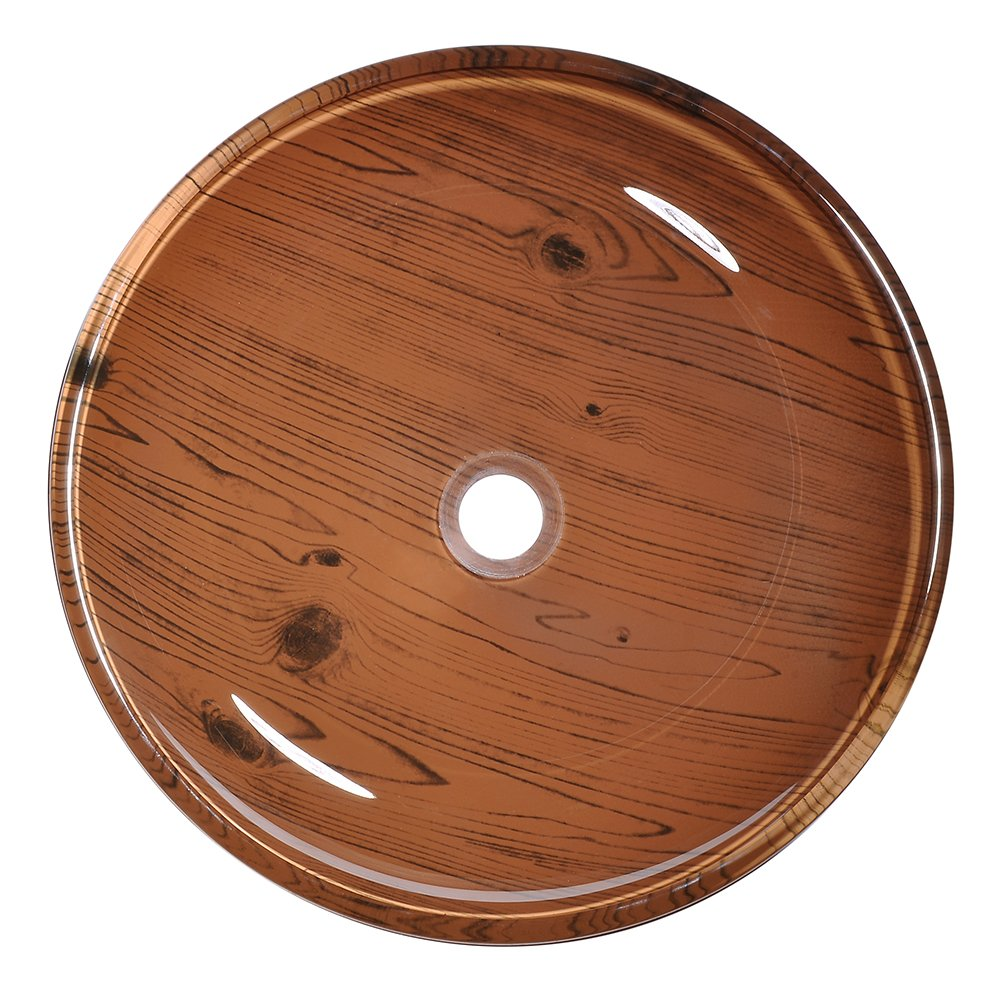 Aquaterior Tempered Glass Round Vessel Sink Wood Grain Pattern Above Counter Bathroom Lavatory Vanity Hotel Bowl Basin by Aquaterior (Image #5)