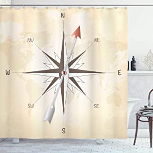 Ambesonne Compass Shower Curtain, Compass Rose with Arrow on Vintage Grungy Background Travel Navigation Artwork, Cloth Fabric Bathroom Decor Set with Hooks, 84