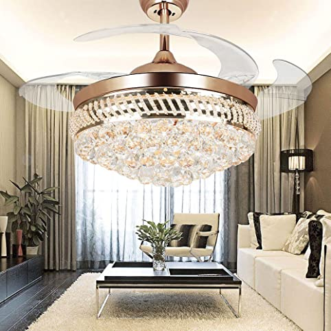 colorled modernes crystal fernbedienung transparent acryl einziehbare klinge deckenventilator lampe 1067 cm beleuchtung fan - Einziehbarer Deckenventilator