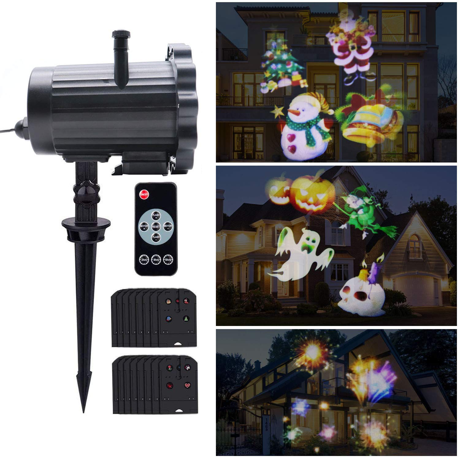 LED Card Projection Lamp, 16 Pattern Detachable Film Outdoor Waterproof Lawn Garden Lamp, Inserted Ground Or Wall Hanging Christmas Decoration Lamp