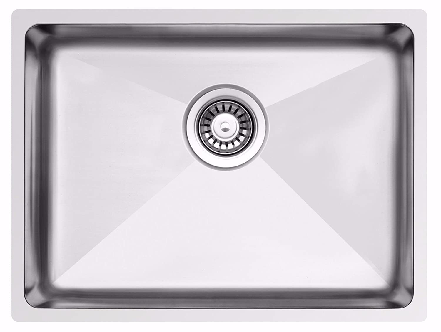588 x 435 mm Undermount/Inset Deep Single Bowl Stainless Steel Kitchen Sink With Waste (LA018) Grand Taps