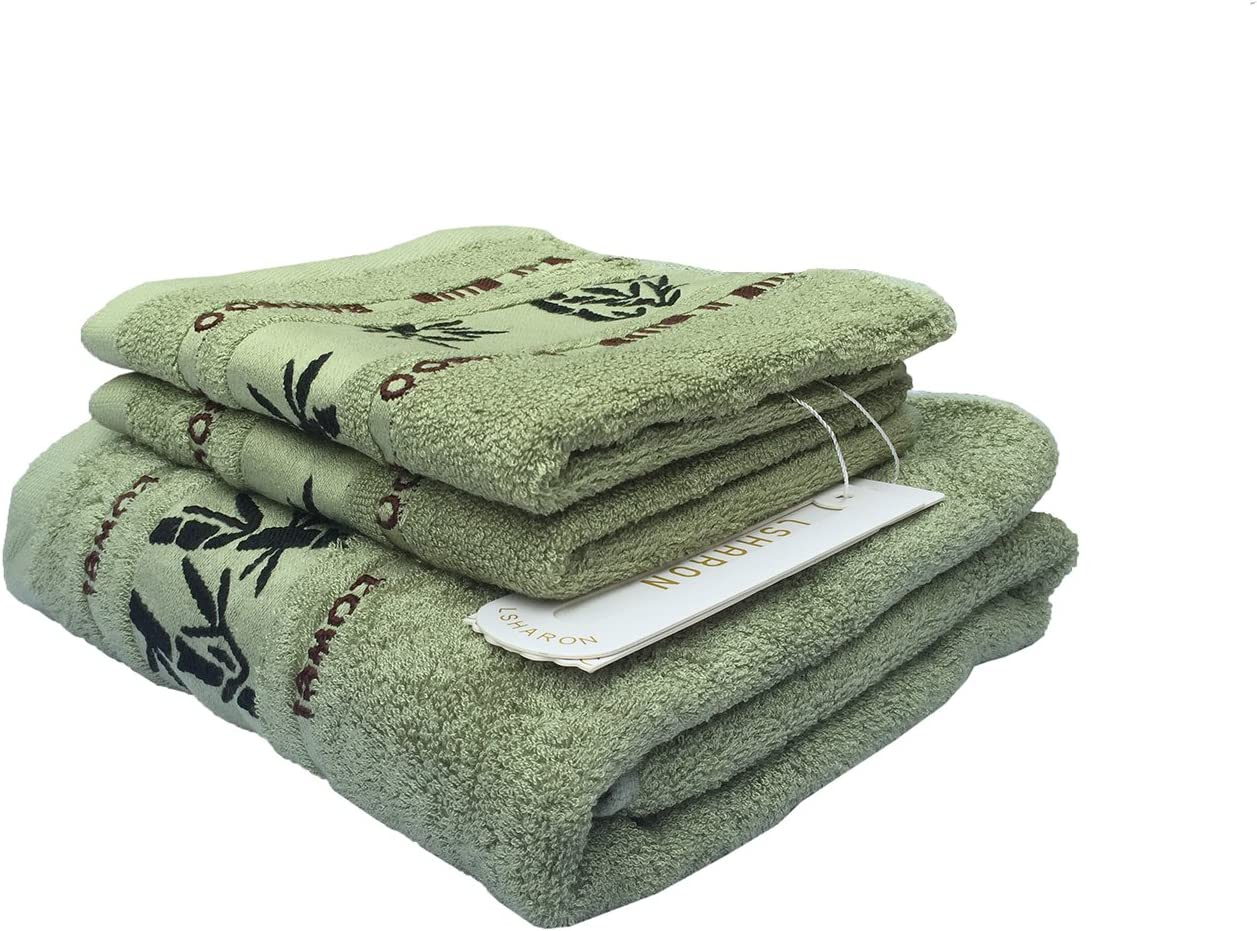 1 Bath Towel, 2 Hand Towels White Ultra Absorbent and Eco-Friendly LSHARON Premium Bamboo Fiber 3 Piece Towels Set - Natural