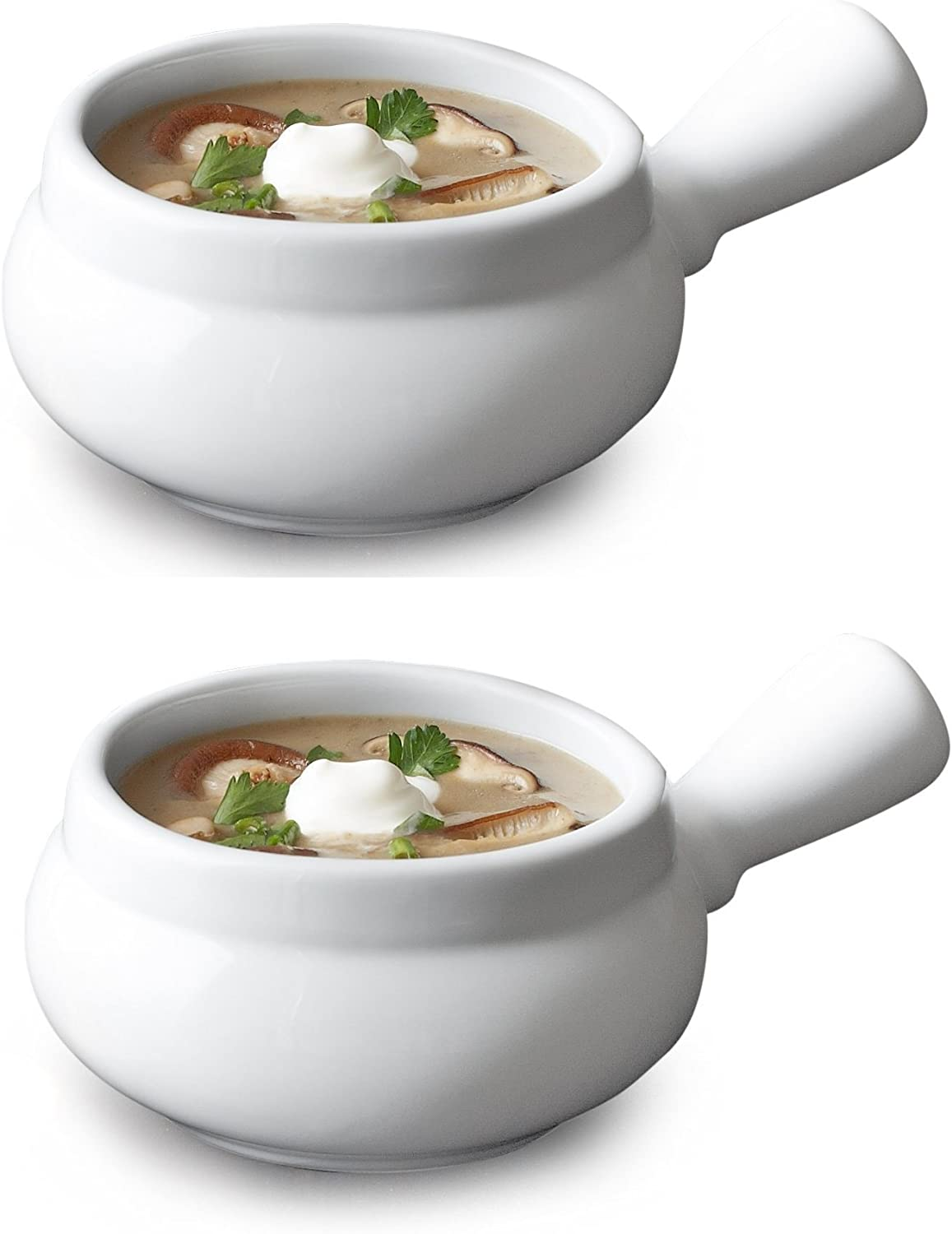 Onion Soup Bowl Large 24 Onces White Porcelain (2)