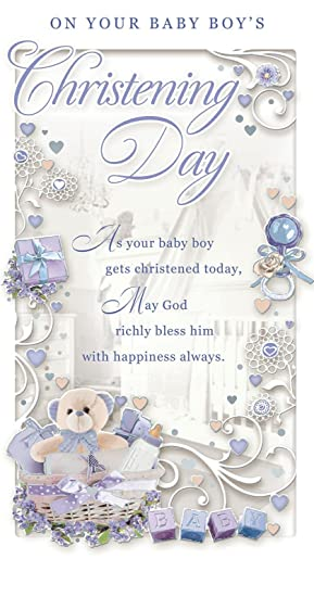 Baby boy christening day greetings card blue teddy hamper toys baby boy christening day greetings card blue teddy hamper toys 9quot m4hsunfo