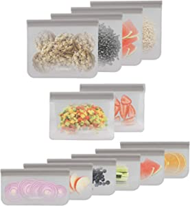 Cuisinart Reusable Silicone Food Storage Bags, 12 Pack Grey – Store, Freeze and Refrigerate Food, Leftovers and Snacks – BPA Free, Dishwasher Safe – Includes Small, Medium and Large Bags