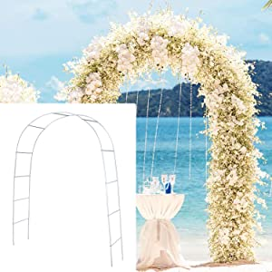 SzJias Adorox Metal Weddings Arch Pergola Metal Garden Arbors Wedding Arch for Garden Climbing Plants Bridal Party Decoration (White)
