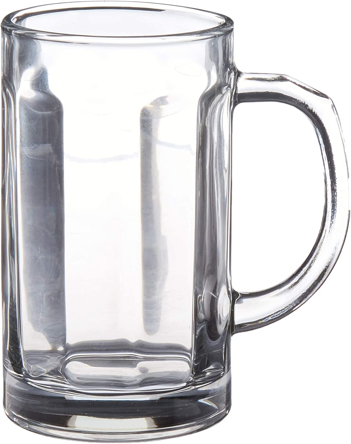Circleware Glass Beer Mugs with Handle Set of 2 Heavy Base Fun Entertainment Glassware Beverage Drinking Cups for Water, Wine, Juice and Bar Dining Decor Novelty, 16.4 oz, Clear