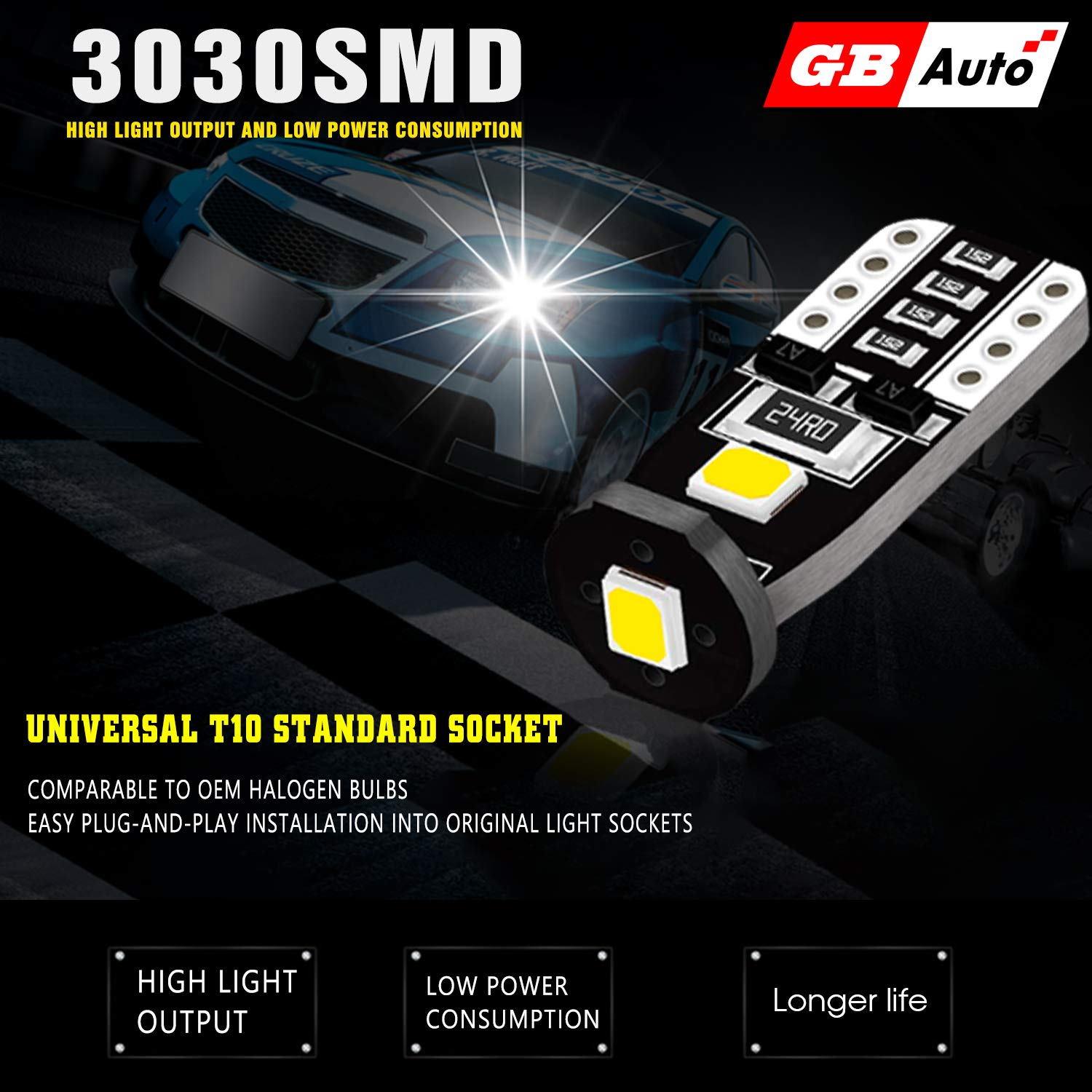 GBAuto LED-10 Extremely Bright LED Bulbs for Car Interior Dome Map Door Courtesy License Plate Lights Compact Wedge 194 168 175 2825 T10 Xenon White-10pack 10 pack