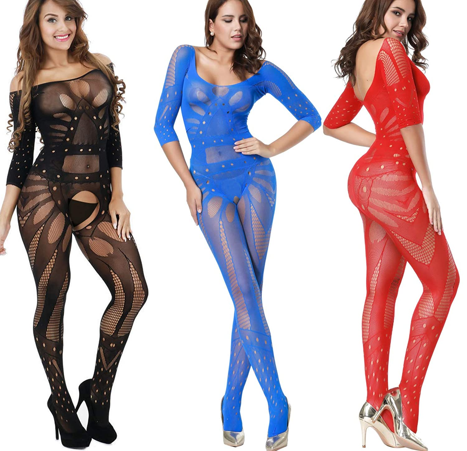 1bbc0ef0d 88% nylon + 12% spandex. Floral Body Stocking Show Your Best Body Curve Cut  Out Fishnet Hole Corset Trim Your Sexy Body Shape One Size Stretch-to-fit  Style ...