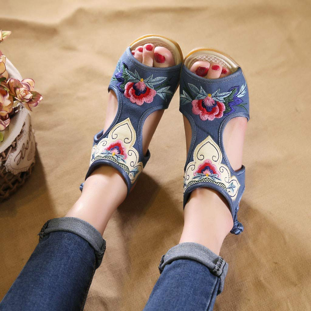 Lurryly Wedge Sandals for Women,Color Matching Fish-Mouth Retro National Embroidered Shoes