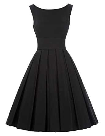 10cb172eb2b Belle Poque Audrey Hepburn 50s Vintage Black Cocktail Party Dress BP091(S)