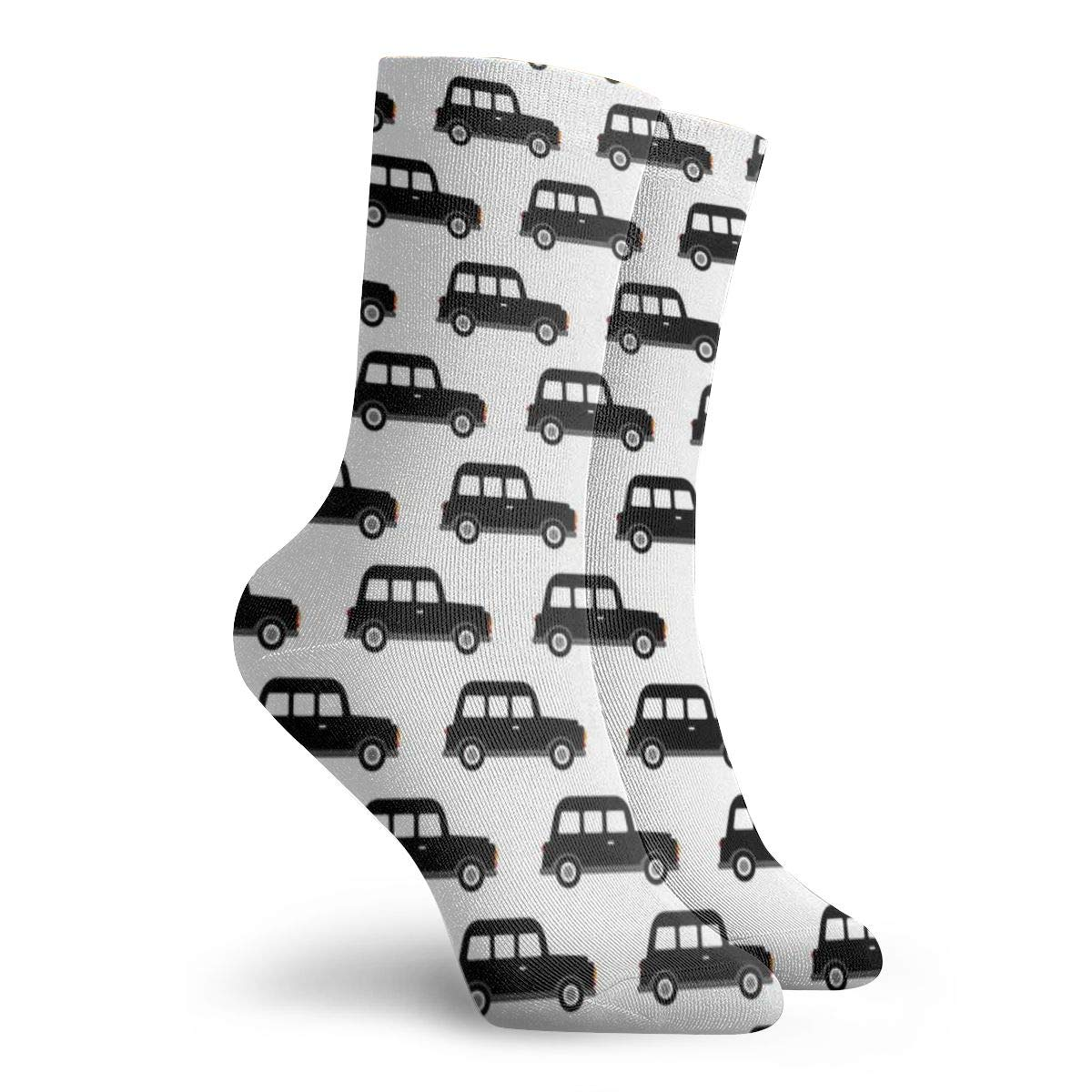 London Black Cab Taxi Boys Car Black And White Retro Fashionable Colorful Funky Patterned Cotton Dress Socks 11.8 inch