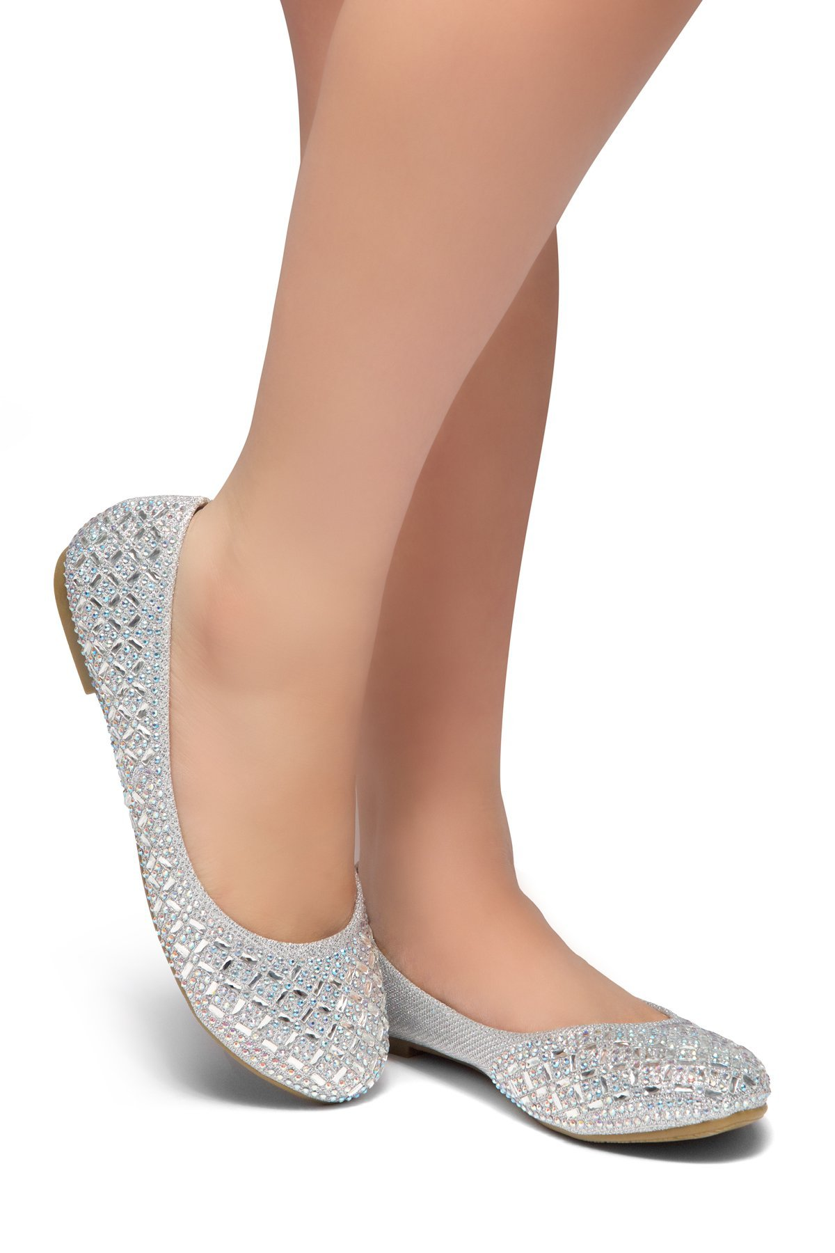 Herstyle Women's Shine Bright Round Toe, Jeweled Embellishments Silver 8