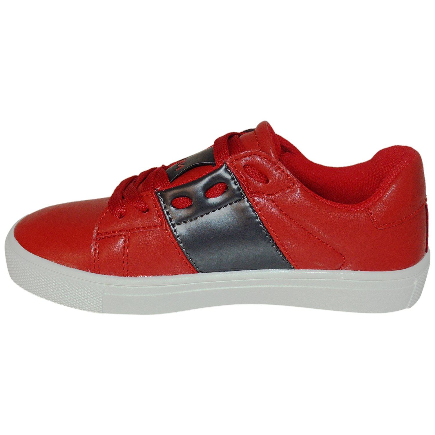 Kids /& Youth Contrast Color Band Fashion Eyelet Lace Shoes RED/_DKGREY
