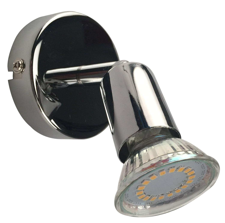 LED Lampada da parete orientabile incluso 1X 3W lampadine 230V 10GU IP20soffitto LED lampada soffitto LED Faretto LED lampada LED lampada da soffitto LED Spot LED Spot 1luci 1X 250lm girevole cromato da soffitto illuminazione soggiorno lampada da so