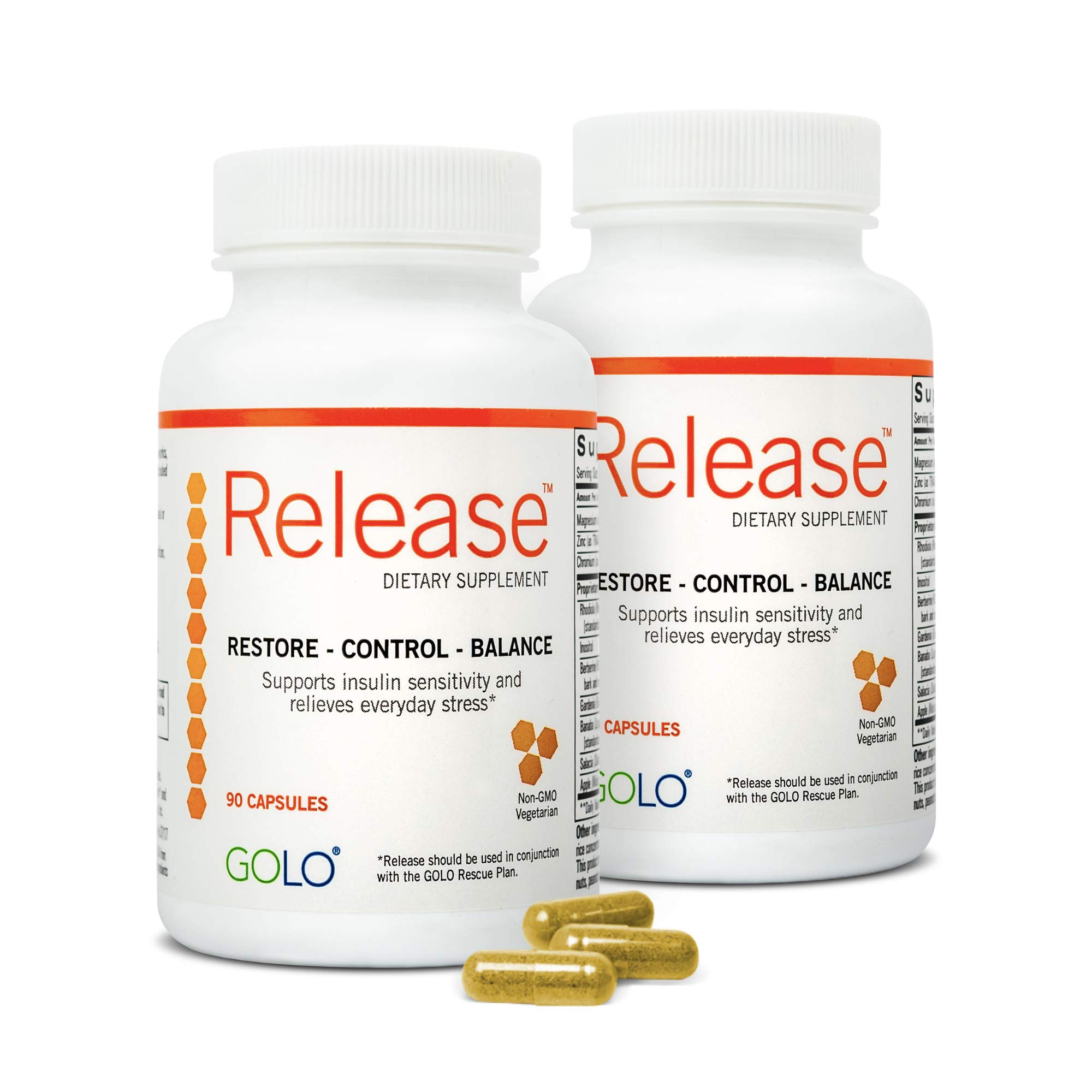 GOLO Release Diet Supplement - Natural Plant-Based Nutraceutical - Balance Hormones, Increase Metabolic Efficiency - No Caffeine, No Stimulants, Vegetarian Safe - 60 Day Supply - 180 Capsules by GOLO