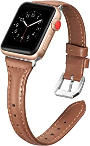 Secbolt Leather Bands Compatible Apple Watch Band 38mm 40mm Iwatch Series 6 5 4 3 2 1 SE Slim Replacement Wristband Strap Stainless Steel Buckle, Brown