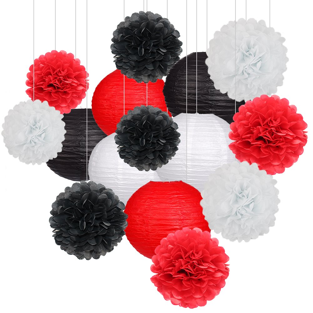 15Pcs Party Pack Paper Lanterns and Pom Pom Balls Hanging Decoration for Halloween Wedding Birthday Baby Shower-Black/Red/White