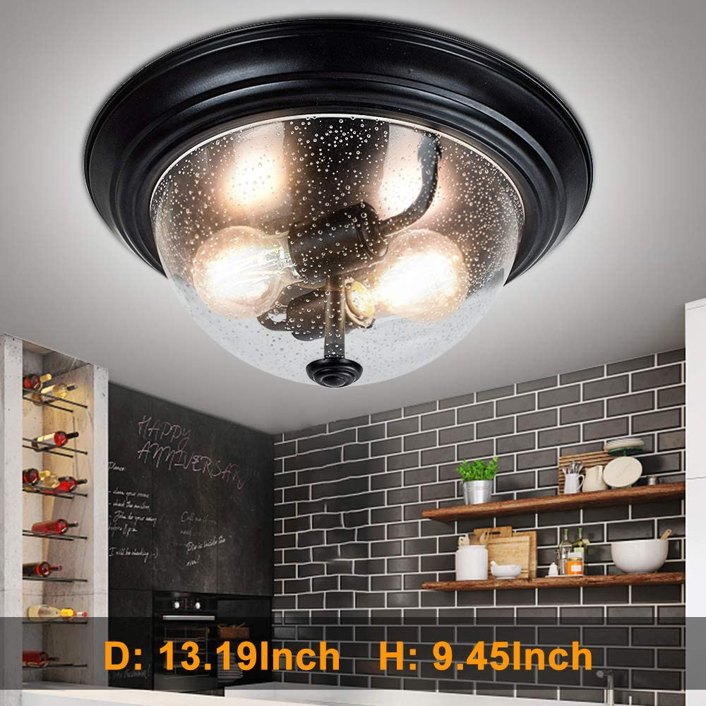 DLLT Glass Ceiling Light, 2-Light Vintage Semi Flush Mount Lighting Fixture, Round Downlight with Clear Seeded Glass Shade for Entryway, Hallway, Bathroom, Bedroom, Dining Room, Kitchen, Living Room