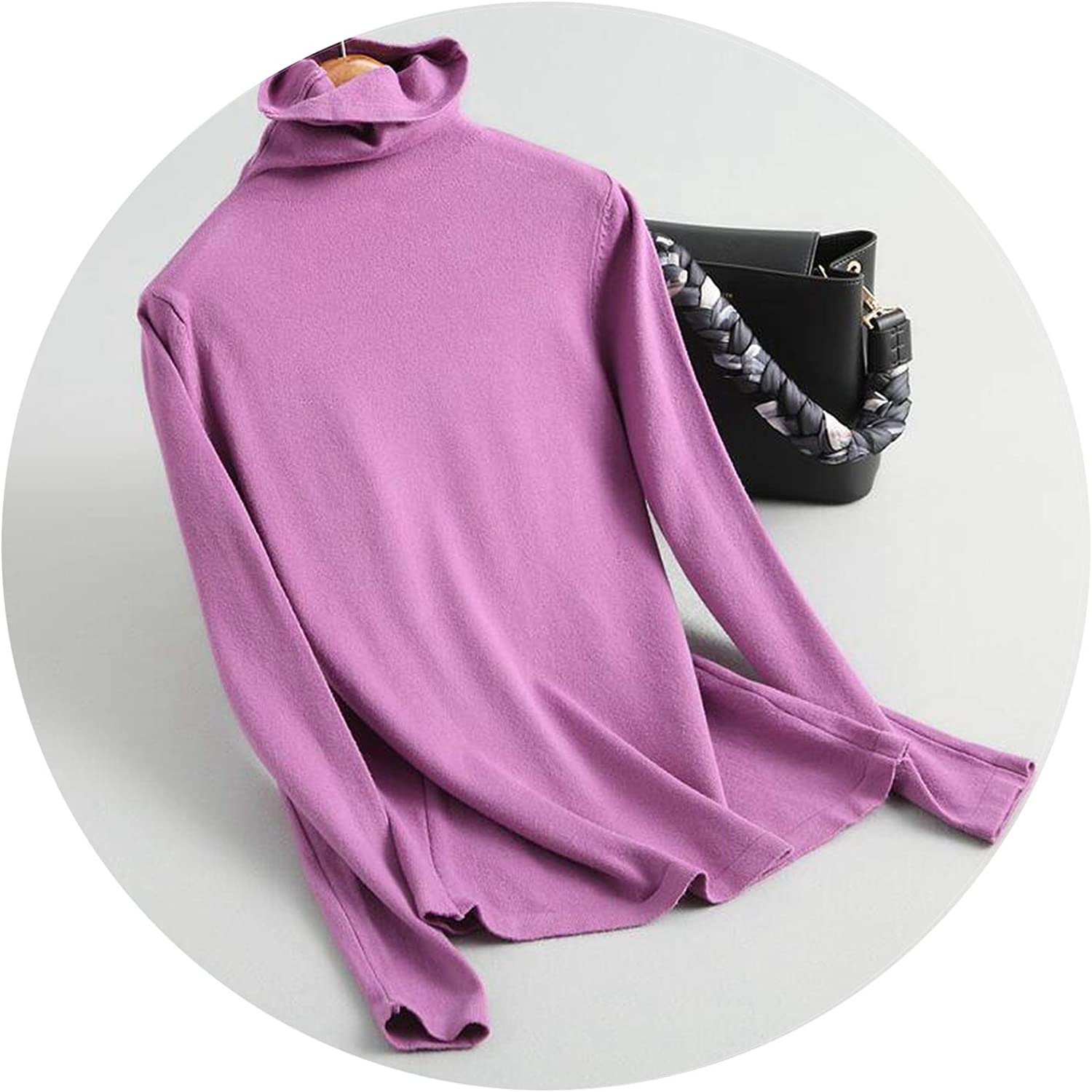 2018 Womens Sweater Casual Solid Color Turtleneck Knitted Top Sweater Pullovers