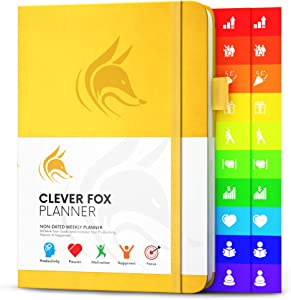Clever Fox Planner - Weekly & Monthly Planner to Increase Productivity, Time Management and Hit Your Goals - Organizer, Gratitude Journal - Undated, Start Anytime, A5, Lasts 1 Year, A.Yellow (Weekly)